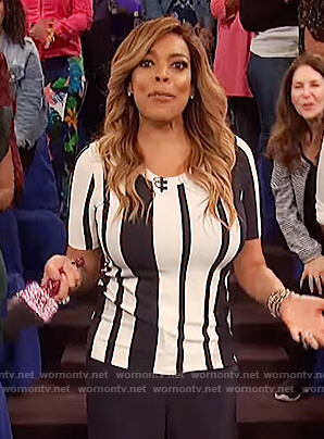 Wendy's contrast striped top on The Wendy Williams Show