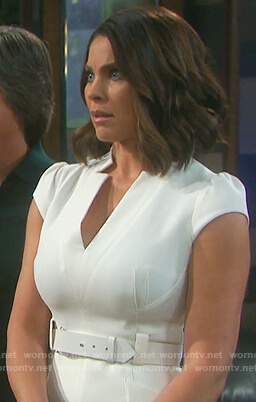 Chloe's white belted cap sleeve dress on Days of Our Lives