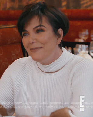 Kris's white fur cuff sweater on Keeping Up with the Kardashians