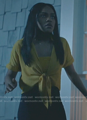 Jennifer's yellow dotted tie front top on Black Lightning