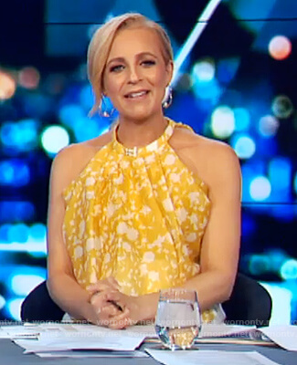 Carrie's yellow floral cropped top on The Project