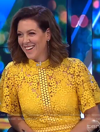 Gorgi's yellow floral lace dress on The Project