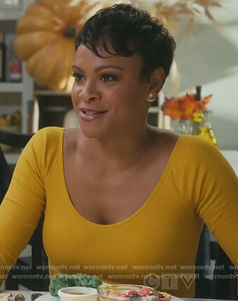 Angela's yellow ribbed top on American Housewife