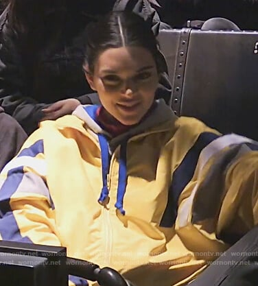 Kendall's yellow oversized track jacket on Keeping Up with the Kardashians