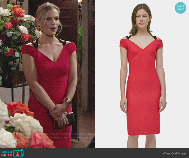 Yigal Azrouel Cross Back Off Shoulder Dress worn by Phyllis Newman (Gina Tognoni) on The Young & the Restless