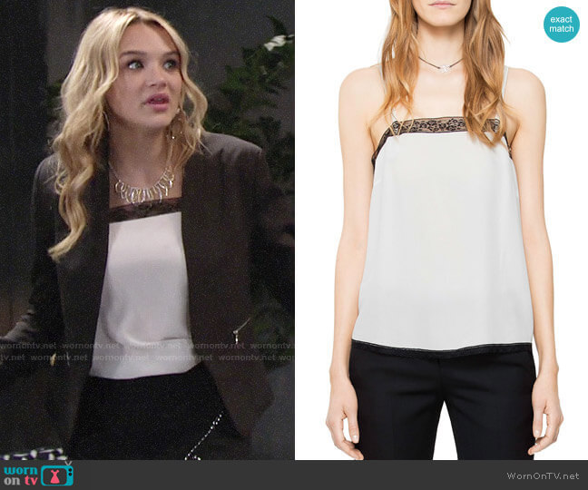 Zadig & Voltaire Carmen Silk Camisole Top worn by Hunter King on The Young & the Restless