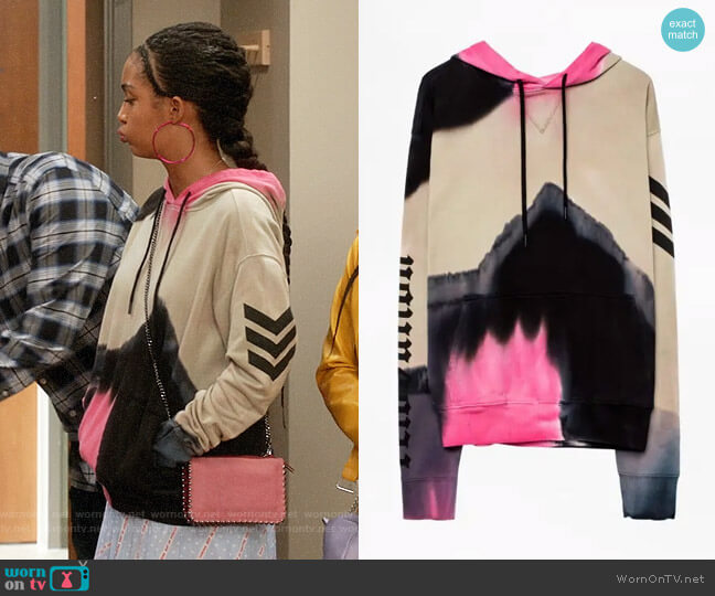 Zadig & Voltaire Spencer Hoodie worn by Zoey Johnson (Yara Shahidi) on Blackish