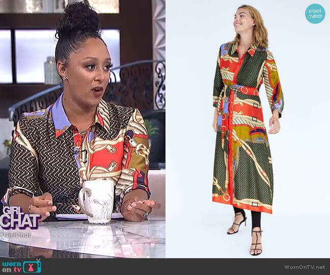 Belt Print Tunic by Zara worn by Tamera Mowry  on The Real