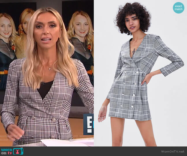 Double Breasted Plaid Dress by Zara worn by Giuliana Rancic on E! News