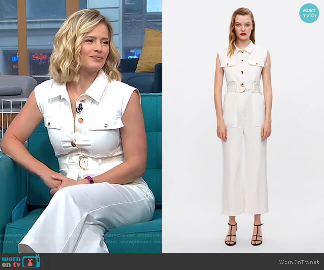Jumpsuit with Belt by Zara worn by Sara Haines  on Good Morning America