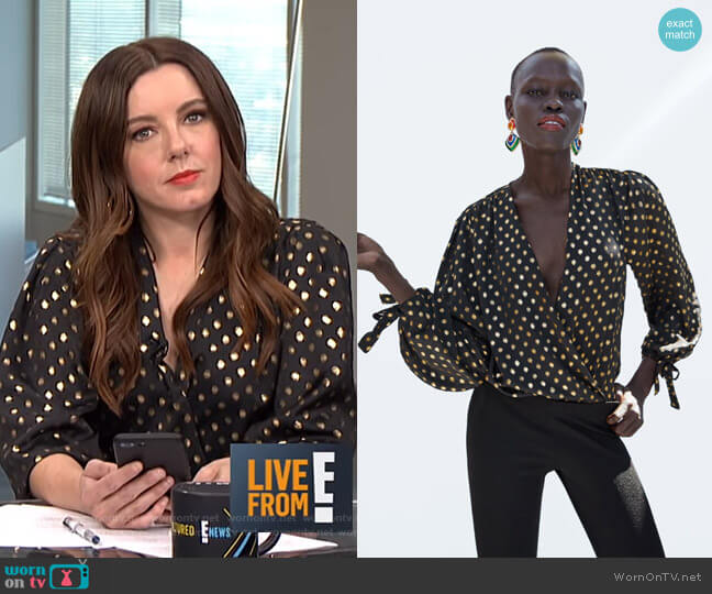 Polka Dot Bodysuit by Zara worn by Melanie Bromley  on E! News