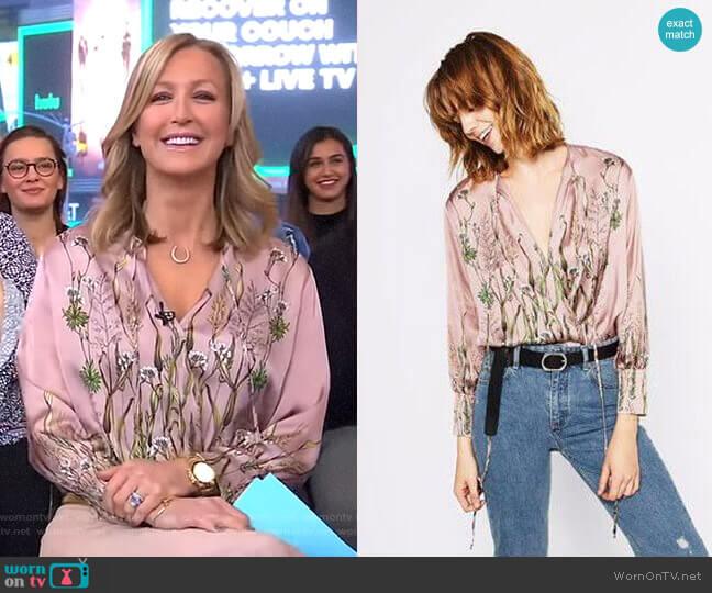 Printed Bodysuit by Zara worn by Lara Spencer (Lara Spencer) on Good Morning America
