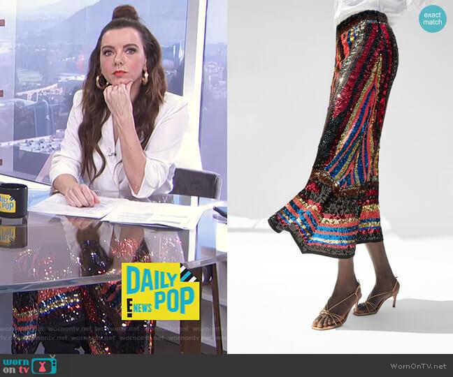Sequin Skirt by Zara worn by Melanie Bromley (Melanie Bromley) on E! News