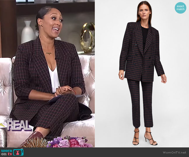 Checkered Double Breasted Blazer and pants by Zara worn by Tamera Mowry (Tamera Mowry) on The Real