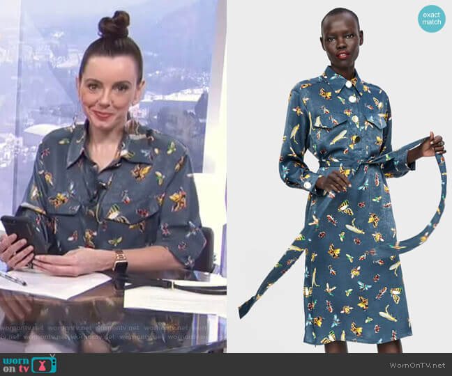 Insect Print Blouse by Zara worn by Melanie Bromley on E! News