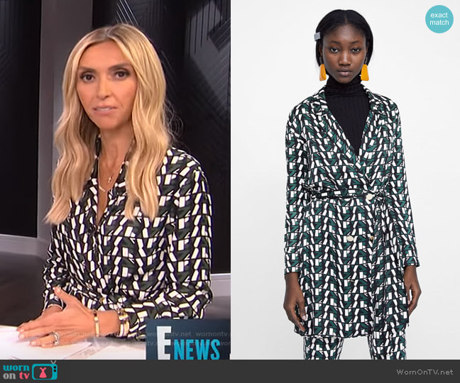 Logo Print Dress by Zara worn by Giuliana Rancic  on E! News