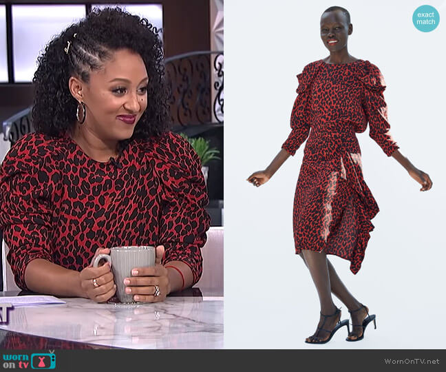 Draped Animal Print Blouse and Skirt by Zara worn by Tamera Mowry on The Real