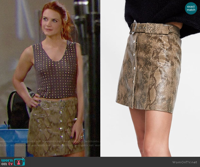 Zara Snakeskin Print Leather Mini Skirt worn by Sally Spectra (Courtney Hope) on The Bold & the Beautiful