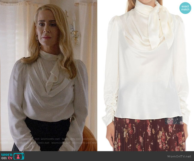 Zimmermann Silk-satin Blouse  worn by Sarah Paulson on American Horror Story