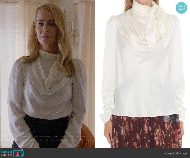 Zimmermann Silk-satin Blouse  worn by Cordelia Foxx (Sarah Paulson) on American Horror Story