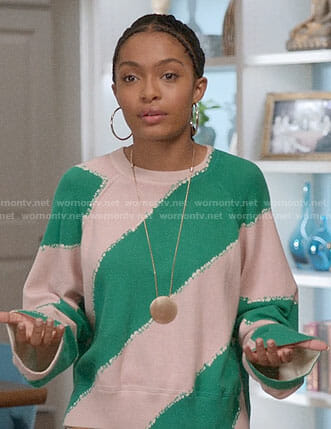 Zoey's green diagonal striped sweater on Black-ish