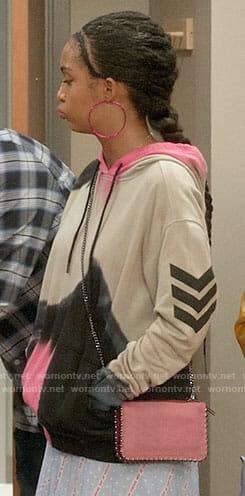 Zoey's pink tie-dye hoodie on Black-ish