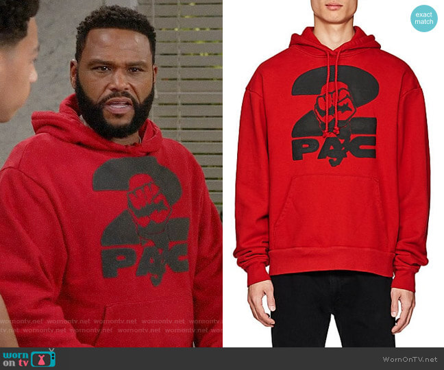 Tupac by 424 Fist-Print Cotton Terry Oversized Hoodie worn by Andre Johnson (Anthony Anderson) on Blackish