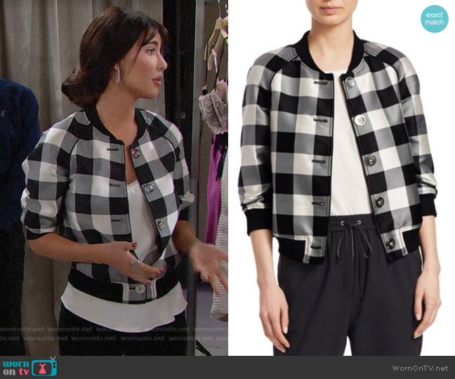 3.1 Phillip Lim Gingham Jacquard Bomber Jacket worn by Steffy Forrester (Jacqueline MacInnes Wood) on The Bold & the Beautiful