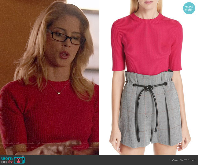 3.1 Phillip Lim Ribbed Short Sleeve Sweater worn by Felicity Smoak (Emily Bett Rickards) on Arrow