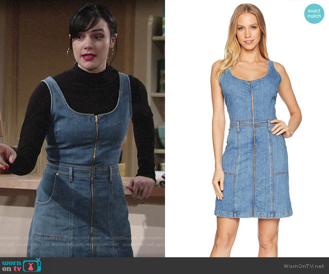 7 For All Mankind Denim Zip Front Dress worn by Tessa Porter (Cait Fairbanks) on The Young & the Restless