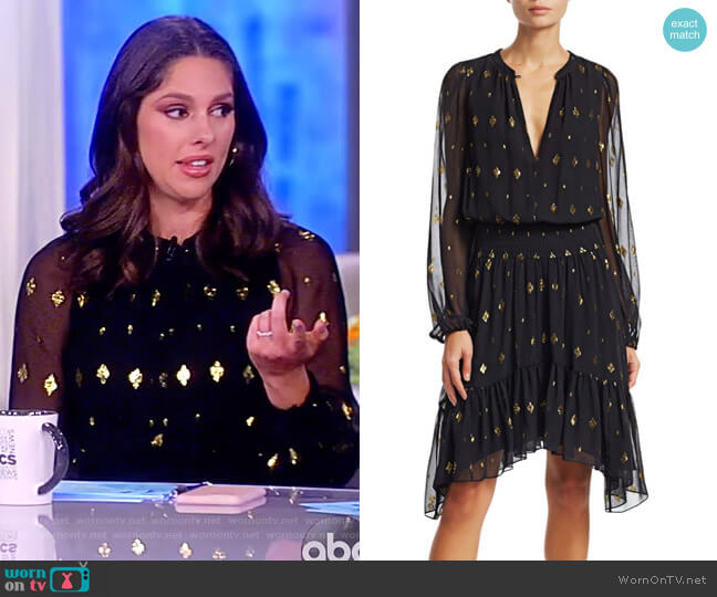 Sidney Long-Sleeve Metallic Flounce Dress by ALC worn by Abby Huntsman (Abby Huntsman) on The View