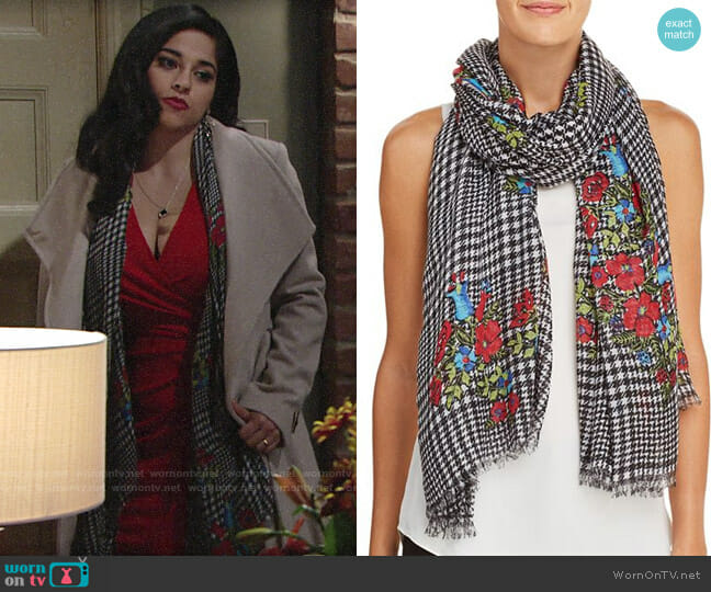 Aqua Glen Plaid Floral Scarf worn by Noemi Gonzalez on The Young & the Restless