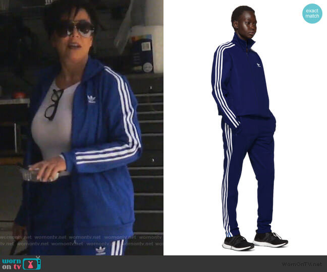 Blue Franz Beckenbauer Track Jacket and Pants by Adidas worn by Kris Jenner  on Keeping Up with the Kardashians