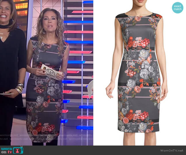 Floral Cap-Sleeve Sheath Dress by Adrianna Papell worn by Kathie Lee Gifford  on Today