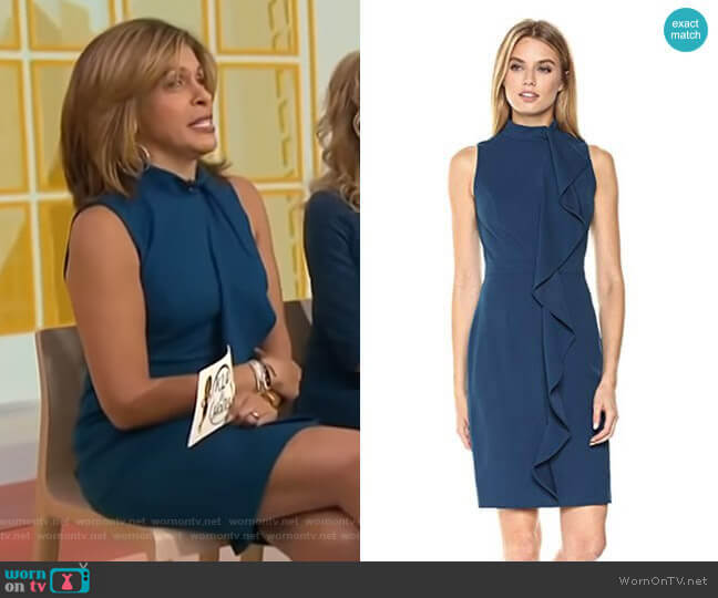 Knit Crepe Mock Neck Sheath Dress by Adrianna Papell worn by Hoda Kotb (Hoda Kotb) on Today
