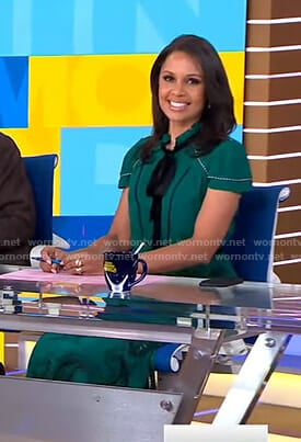 Adrienne's green tie neck dress on Good Morning America