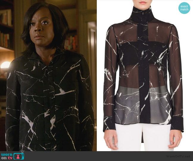 Marble Tile Print Silk Blouse by Akris worn by Annalise Keating (Viola Davis) on HTGAWM