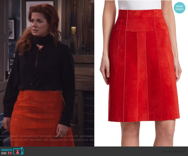 Paneled Suede A-Line Skirt by Akris Punto worn by Grace Adler (Debra Messing) on Will & Grace