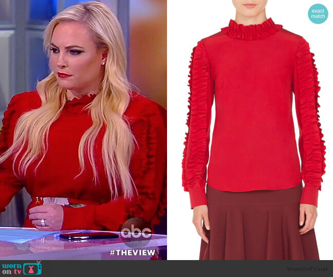 Meghan's red ruffled blouse on The View