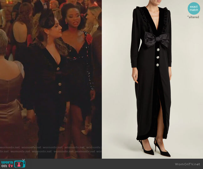 Bow-Trimmed V-Neck Crepe Dress by Alessandra Rich worn by Fallon Carrington (Elizabeth Gillies) on Dynasty