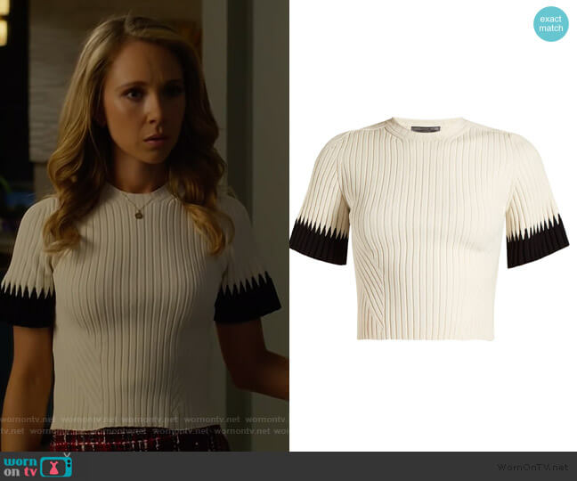 Contrast-cuff ribbed cropped top by Alexander McQueen worn by Juno Temple on Dirty John