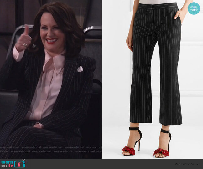 Cropped pinstriped wool-blend flared pants by Alexander McQueen worn by Karen Walker (Megan Mullally) on Will & Grace