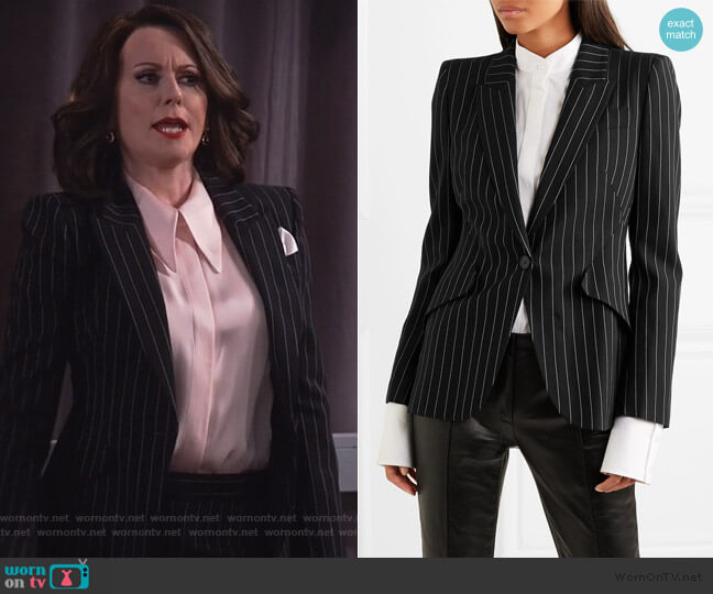 Pinstriped wool-blend blazer by Alexander McQueen worn by Karen Walker (Megan Mullally) on Will & Grace