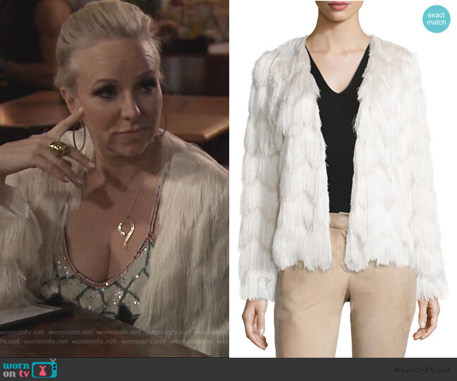 Florin Scalloped Tiered-Fringe Jacket by Alexis worn by Margaret Josephs on The Real Housewives of New Jersey