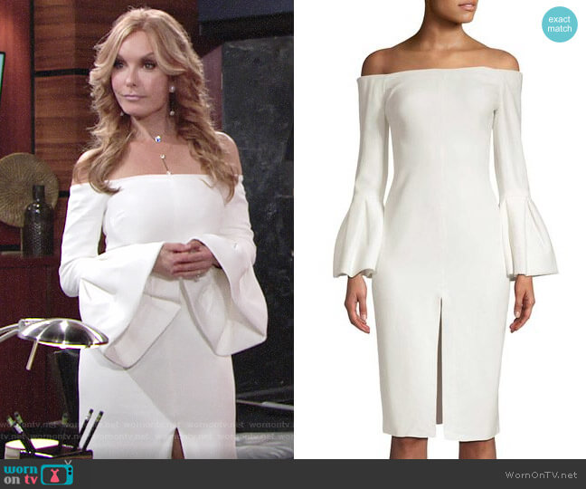 Alexis Off-shoulder Bell Sleeve Dress worn by Lauren Fenmore (Tracey Bregman) on The Young & the Restless