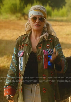 Alexis's embellished army jacket on Dynasty