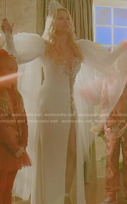 Alexis's white embellished tulle gown on Dynasty