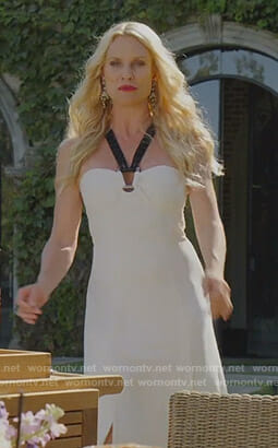 Alexis's white halter neck dress on Dynasty