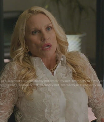 Alexis's white ruffled lace shirt on Dynasty