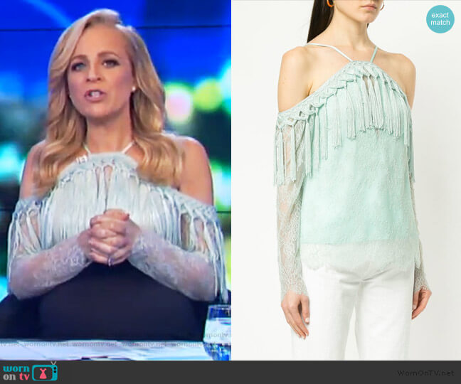 She Said Top by Alice McCall worn by Carrie Bickmore  on The Project